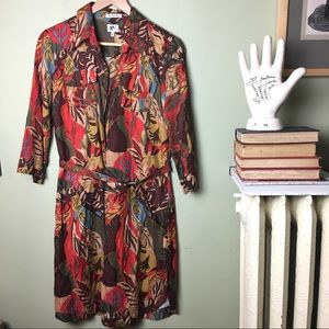 LL Bean Silk & Linen Belted Dress botanical print